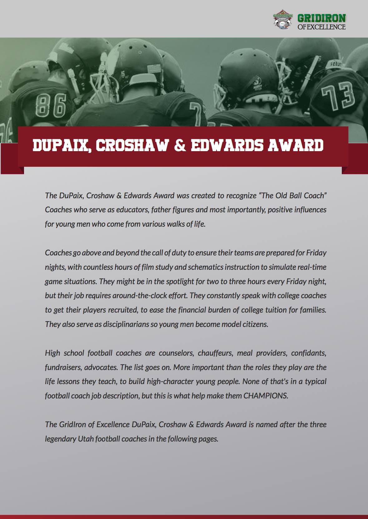Dupaix, Croshaw and Edwards Awards